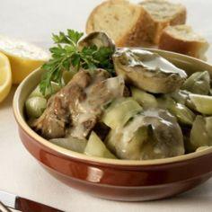 Lamb with onions and artichokes (Arnaki me anginares) - iCookGreek Lamb Dishes, Tasty Dishes, Kitchen Recipes, Cooking Recipes, Healthy Recipes, Lamb Recipes, Greek Recipes, Eat Greek, Greek Cooking