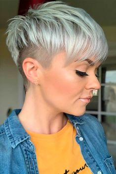 24 Popular Short Undercut Pixie Hairstyle To Look Great - Short white pixie haircut, short haircut i Short Haircut Styles, Cool Short Hairstyles, Short Pixie Haircuts, Pixie Hairstyles, Long Hair Styles, Hairstyle Short, Hairstyle Ideas, Short Hair Syles, Short Grey Hair
