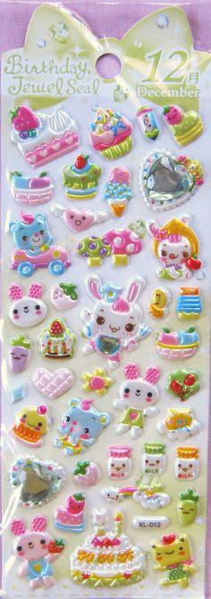 December 3D Puffy Birthday Jewel Stickers