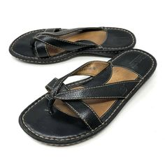8de826150 Born Womens Black Leather Thong Flip Flop Double Strap Sandals 6  fashion   clothing