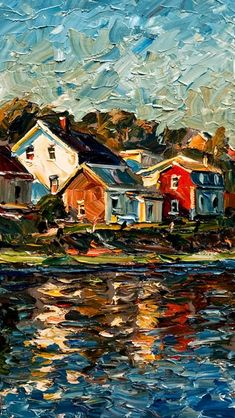 Cool palette knife painting, houses on water. Reflection (Isle-aux-Grues), by Ra… Cool palette knife painting, houses on water. Reflection (Isle-aux-Grues), by Raynald Leclerc Landscape Art, Landscape Paintings, Impressionist Paintings, Water Color Painting Landscape, Acrylic Paintings, Landscape Design, Impressionism Art, Arte Inspo, Arte Van Gogh