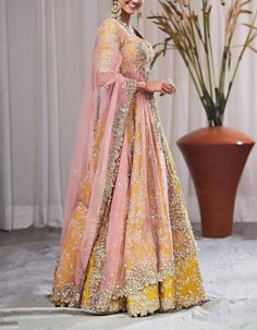 Check out our Mustard Yellow Zardosi Embroidered Lehenga Set by ANUSHREE REDDY available at Ogaan Online store at special price. Anushree Reddy's elaborate festive pieces with intricate zardosi and gota details in raw silks are a bridal favourite at Ogaan Shadi Dresses, Nikkah Dress, Lehnga Dress, Lehenga Choli, Anarkali, Sarees, Indian Wedding Outfits, Bridal Outfits, Indian Outfits