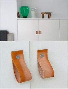Discovered via The Improvised Life: DIY leather cabinet pulls by artist Holton Rower, who makes cabinet pulls with a rectangle of leather secured with a roofing nail. For more information, go to The Improvised Life.