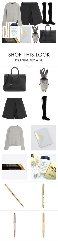 """""""first day at school // saskia kendall reed"""" by icy-blonde ❤ liked on Polyvore featuring Yves Saint Laurent, Kendall + Kylie, Balenciaga, Stuart Weitzman, E L L E R Y, Tom Pigeon, Kate Spade, Parker, Caran D'Ache and Faber-Castell"""