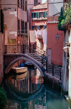 Venice, boat in a small canal
