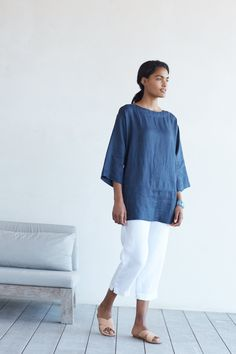Pure Jill linen kimono tunic with the linen slim crops