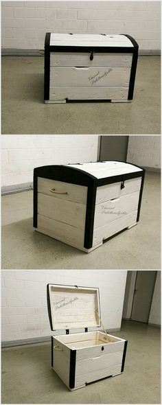 You can make this box which looks more like a treasure box. You can color it in white and put color at the borders of it. It is quite a big wood pallet storage box. Pallet Chest, Wood Chest, Toy Boxes, Storage Boxes, Storage Chest, Pallet Storage, Pallet House, Pallet Creations, Backyard For Kids