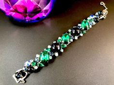 JULIANA-D-amp-E-FOR-WEISS-SAPPHIRE-EMERALD-GREEN-CABOCHON-RHINESTONE-LINK-BRACELET