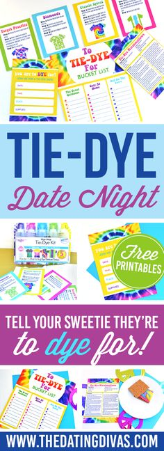 Tie Dye Date Night with FREE printables!