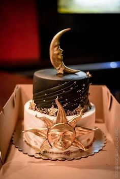 Pretty Birthday Cakes, Pretty Cakes, Beautiful Cakes, Amazing Cakes, Cupcakes, Cake Cookies, Cupcake Cakes, Star Cakes, Moon Cake