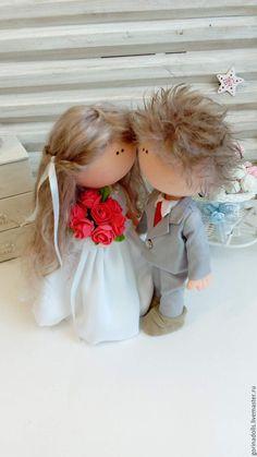 Купить Текстильные куколки- Свадебные - серый, белый, свадьба, кукла ручной работы, текстильная кукла
