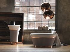 Modern industrial bathroom design with copper accent, #interior #design #bathroom // Ethnic Chic // The Perfectionists: Falper
