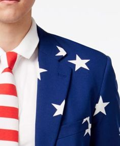 OppoSuits Men's Stars and Stripes Slim-Fit Suit & Tie - Misc. 42