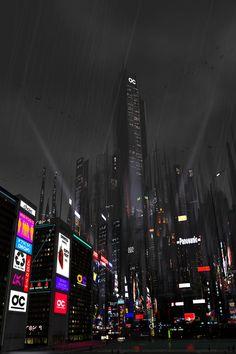 Cyberpunk Atmosphere, Futuristic City, Neo-Noir, Dark Future, 'The Kingdom' by Chris Spencer