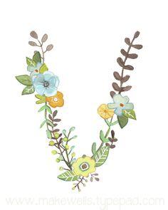 V Floral Letter print by Makewells on Etsy, $12.00