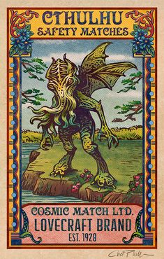Cthulhu Matchbox Art- x matted signed print - You are in the right place about salute immagini Here we offer you the most beautiful pictures abo - Lovecraft Cthulhu, Hp Lovecraft, Logo Label, Les Fables, Lovecraftian Horror, Eldritch Horror, Posters Vintage, Matchbox Art, Call Of Cthulhu
