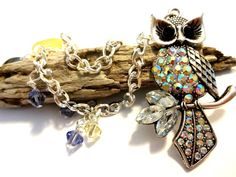 Beaded Owl Curtain Tieback Made With Purple and Yellow Swarovski Crystal Elements, Owl Home Decor, Window Decoration $34.00 #topseller