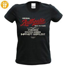 Modisches 70. Jahre Fun Girlie T-Shirt zum Damen und Mädchen Geburtstag Authentic Since 70 Years Farbe: schwarz Gr: XXL (*Partner-Link)