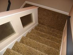 Leopard carpet going down stairs. Striped Carpet Stairs, Stair Carpet, Custom Home Builders, Custom Homes, Leopard Carpet, Carpet Trends, Carpet Ideas, Carpet Dining Room, Indoor Outdoor Carpet