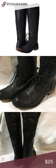 NWOT Black Boots Never worn - zips on the sides to make it easy to put them on - Dirty Laundry brand, sold at DSW Shoes Lace Up Boots