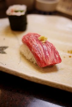 Probably the best beef in the world! Japanese Wagu Beef Nigiri