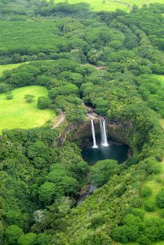 Wailua Falls is the must-see waterfall to visit on the garden island of Kauai, Hawaii.
