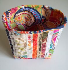 Selvage Fabric Quilted Fabric Bucket with Bright by Pamelaquilts, $20.00