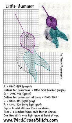 Free Cross Stitch Pattern - Little Hummingbird