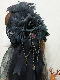 Handmade Feather Rose and Lace Gothic Lolita Headbow gothic Gothic Lolita Fashion, Punk Fashion, Lolita Style, Goth Hat, Gothic Accessories, Hair Accessories, Fancy Hats, Emo Outfits, Harajuku Fashion