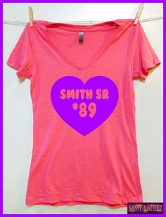 Smith Sr. 89. Baltimore Ravens Ladies fit Pink slub V neck  shirt hand printed in Baltimore S-XXL. Baltimore Football.