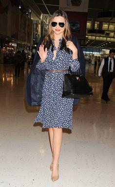 Miranda Kerr wearing a pretty floral dress at Narita International Airport in Japan. via @stylelist | http://aol.it/1sQ0Ob3