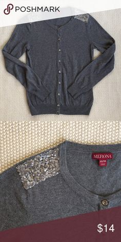 Gray Sequined Cardigan Gray cardigan with embellished sequin shoulders. 53% cotton, 40% rayon, 7% nylon. Merona Sweaters Cardigans