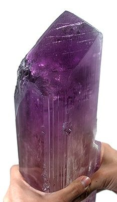 Kunzite - Pech, Kunar Province, Afghanistan. Perhaps one of the world's largest crystals for the species! It is complete all around, and with remarkably little etching effects given the size of the crystal. It is nearly entirely gemmy, especially in the center. The tip just glows with purple and maroon hues