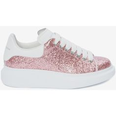 Alexander McQueen Oversized Sneaker ($500) ❤ liked on Polyvore featuring shoes, sneakers, antique rose, white sneakers, flat sneakers, leopard sneakers, white flat shoes and pink flat shoes