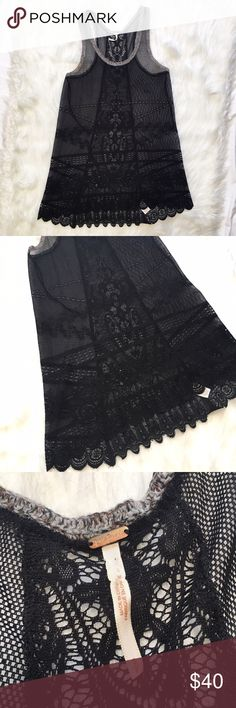 """Free People Sheer Black Lace Tunic Top/Dress Detailed black lace sheer tunic top that could be worn as a dress. Scoop neckline with knit trim on the sleeves. Racerback style with intricate lace detailing down the middle of the back and scalloped hem. High low style with some stretch. In excellent condition. Laying flat, it measures approximately: 15.75"""" bust, 29"""" front hem, 32"""" back hem. Free People Tops Tunics"""