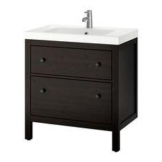 HEMNES / ODENSVIK Mobile per lavabo con 2 cassetti, mordente marrone-nero mordente marrone-nero 80x49x89 cm