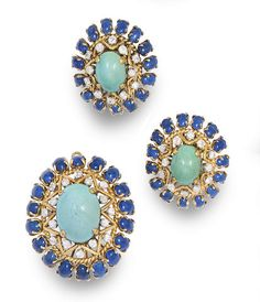 A turquoise, lapis lazuli, diamond and 18k gold brooch and earring set