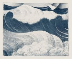 Christopher Richard Wynne Nevinson (British, 1889-1946) - The Wave, 1917 - Lithograph, printed in blue.                                                                                                                                                                                 More