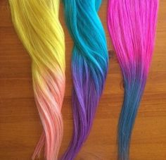 #Pastel #Hair #Dyes. Yellow and Pink. Teal and Purple. Hot Pink and Blue.