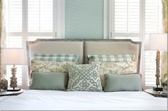 Blue Gray bedroom - French countryside inspired - custom window trim - custom interior shutters - Cote de Texas - Aidan Gray
