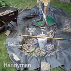 to Build a Low-Maintenance Water Feature How to Build a Low-Maintenance Water PondHow to Build a Low-Maintenance Water Pond Diy Water Feature, Backyard Water Feature, Ponds Backyard, Garden Ponds, Backyard Waterfalls, Koi Ponds, Herb Garden, Outdoor Water Features, Water Features In The Garden