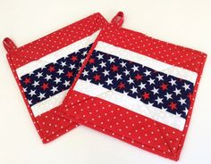 Red White and Blue Potholders Handmade Insulated Patriotic by New England Patches