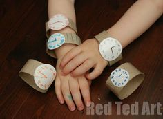 Have 5 minutes of time to fill and need a super quick and easy craft...? Why not make some Toilet Paper Roll watches with the kids.. then set the time to bedtime, dinner time or play time! A great way to start learning and exploring time (add a pin and maybe add movable hour hands?)  Great for toddlers and preschoolers alike!