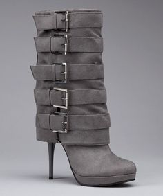 Compliment these boots with tight black skinny jeans (tucked into boots), silver plated blouse (loose), ostrich feather gray coat. Long silver earrings & a diamond ring.