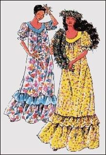MAKE YOUR OWN HAWAIIAN MUʻUMUʻU  — This pattern is a classic Hawaiian Muʻumuʻu. Misses Size: Petite-XXX Large  (all sizes included). Ladies Loose fitting pullover muʻumuʻu with 2 yoke styles, gathered sleeves with elastic and optional contrast facing, pockets, gathered hemline ruffles. $14 from Myriah's Bazaar. NOTE: They also carry many other patterns, including vintage & modern styles.