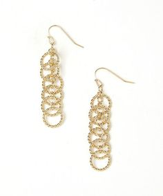 Gold Linear Circle Drop Earrings #zulily #zulilyfinds