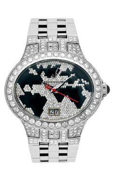e1ce9055912 Aqua Master Men S Oval World Map Diamond Watch