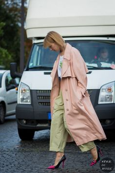 oversized pants with pastel coat