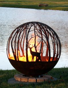 Fire Pit Sphere, Fire Pit Gallery, Custom Fire Pit, Wood Fire Pit, Number Art, Mule Deer, Fire Bowls, Patina Finish, Wood Crates