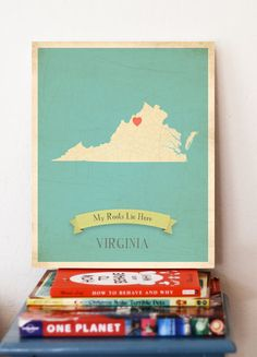 Virginia Roots Map 11x14 Customized Print by MyRoots on Etsy, $40.00